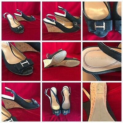 Tommy Hilfiger Black Slingback Cork Wedge High Heel Open Toe Shoes 8M 3.5 Heel