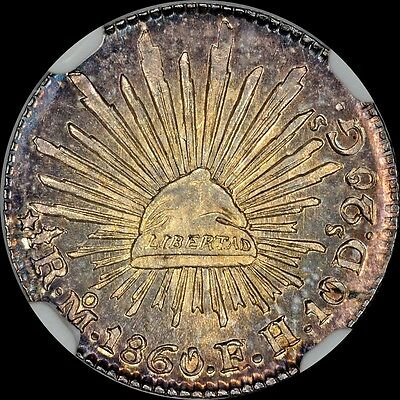 "DAZZLING NGC MS65 MEXICO 1860 MO FH GC 1/2R HALF REALE ""FINEST"" @ NGC & PCGS"