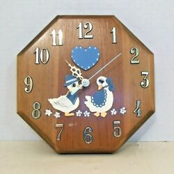 Wall Clock Octagon Solid Wooden Frame Gold Tone #'s Battery Operated AA Vintage