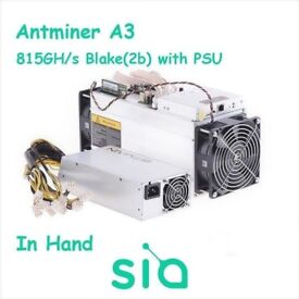 Bargain Cheapest in UK Bitmain A3 - 815GH/s with PSU -Mining SiaCoin -(March Batch)