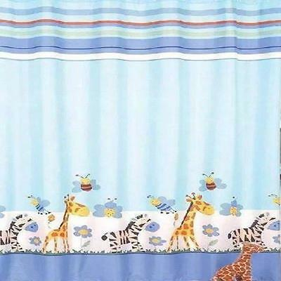 (Light Blue Zebra Giraffe Bees & Flowers Bathroom Shower Curtain Polyester)