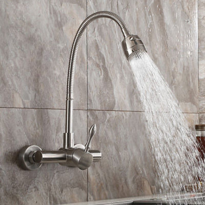 Brushed Nickel Wall Mount Kitchen Filler Laundry Stainless Steel Faucet&Sprayer - Nickel Wall Mount Faucet