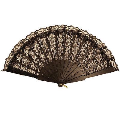 Black Lace Hand Fan Spanish Fancy Dress Accessory