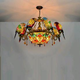 chandelier, parrot chandelier, pendant lights, glass chandelier, color