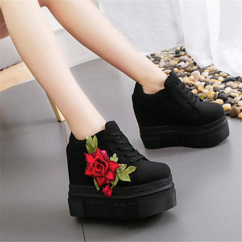 Womens Lace Up Embroidery Flower Sneakers Platform Wedge High Heel Shoes RWBN