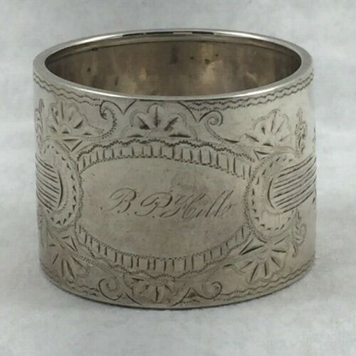 Fancy Etched Sterling Napkin Ring- Mono