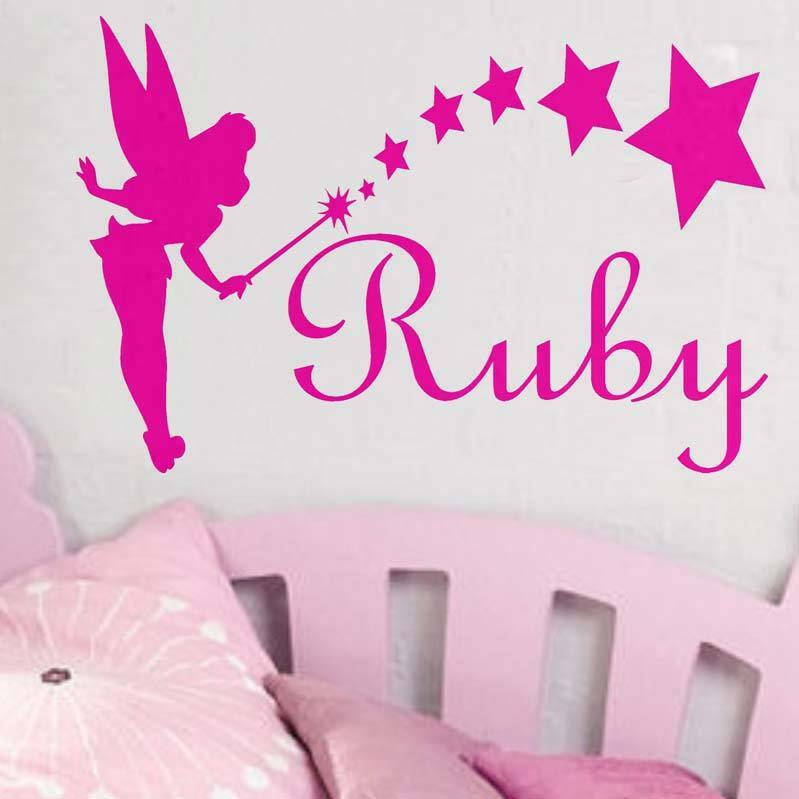 Tinkerbell Any name girls wall sticker disney style writing one piece AFC58