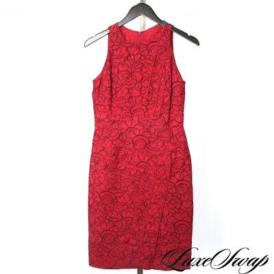 LNWOT J. Mendel Made in USA Ruby Red Black Floral Lace Cocktail Dress STUNNER NR