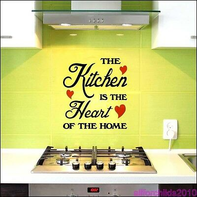 Home Decoration - THE KITCHEN IS THE HEART OF THE HOME WALL STICKER -ART DECOR  KITCHEN DECAL S4