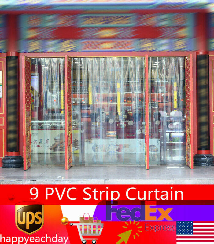 9 PVC Strip Curtain Clear Plastic Door Curtains Strips for Warehouses/Factories