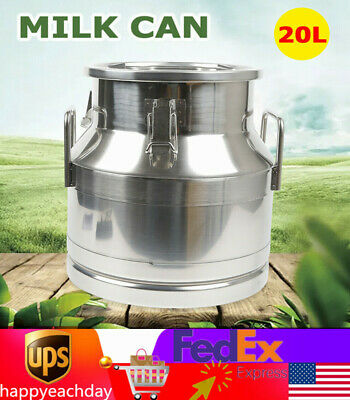 20l5.25gallon Stainless Steel Milk Can Wine Pail Bucket Tote Jug Silicone Seal