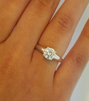 1 CT 14k Solid White Gold Solitaire Diamond Engagement Ring Cathedral Setting