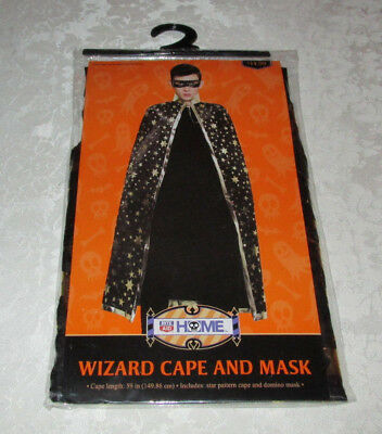 Adult Wizard Cape & Mask (59 inches cape and domino mask) Black, Gold Stars