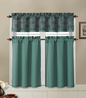 Blue and Brown Kitchen Window Curtain Set : 2 Tier Panel Cur