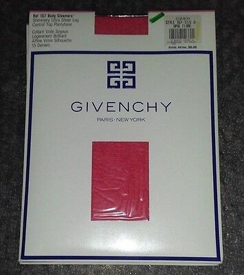 Givenchy Body Gleamers Shimmery Sheer Control Top Pantyhose Sz A Opal Flame Red