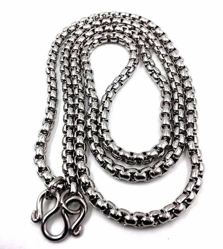 """Thai Amulet Buddha Necklace Pendant Solid Stainless Steel Chain Big Size 24"""""""