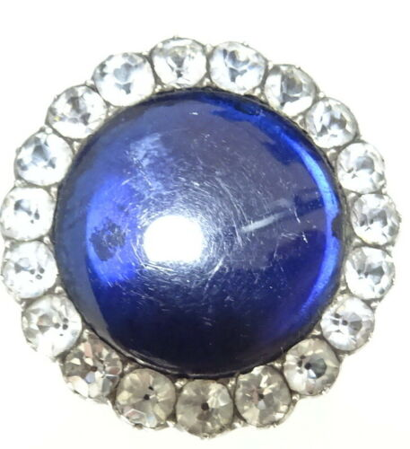 Georgian Silver Black Dot Paste+ Bristol Blue Paste Brooch-   Hidden Picture