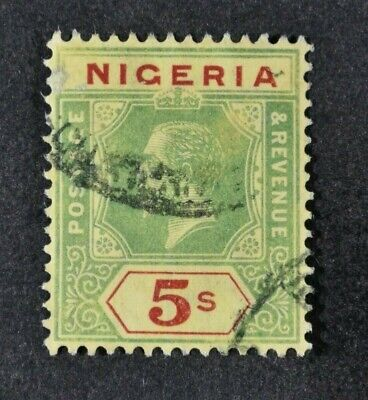NIGERIA, KGV, 1915, 5s. green & red/yellow value, SG 10a, used condition Cat £60