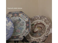 2 vintage decorative plates, display or use.Turkey and Peacock