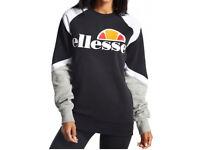 Ellesse Scafati Crew Sweatshirt Black/White/Grey Size 6 Womens