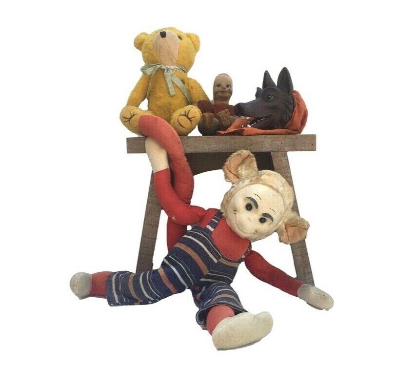 Vintage retro Collection of ageing Toys inc Krueger Monkey / Nora Wellings