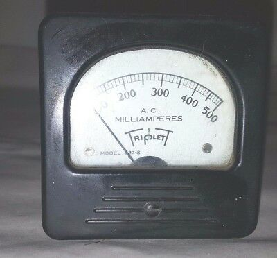 Vintage Triplett 337-s Ac Volts 0-500 Panel Mount Meter Steampunk