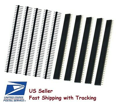 5 Pairs Male Female 40 Pin 2.54mm Single Row Straight Pin Header Strip - Usa