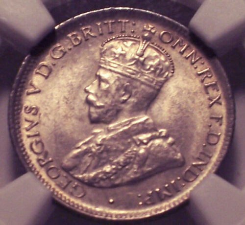 British West Africa, 1919 H George V Sixpence NGC MS-63 6 Pence 8,676,000 Minted