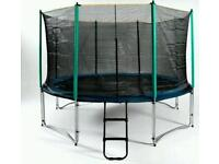 12ft trampoline with enclosure poles and stairs NEW