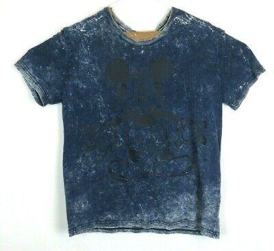 Disney Distressed Mickey Mouse Mens Graphic T Shirt Blue Denim Size Large Denim Distressed T-shirt