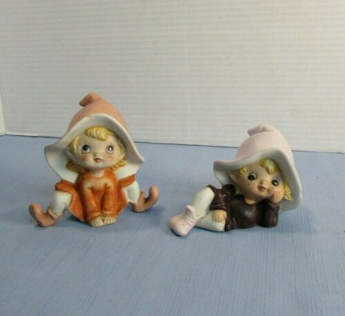 Pixie Elves Gnome Porcelain Figurines Home Interiors HOMCO#5213 Set of 2 Vintage