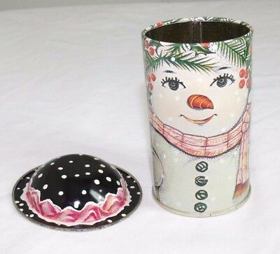 Snowman Snow Woman Christmas Round Tin Container removable hat lid