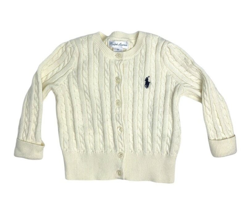 Baby Girl Ralph Lauren Cotton Cable-knit Cardigan, Size 9 Months
