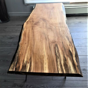 HAND CRAFTED LIVE EDGE SPATLED FIGURED SUGAR MAPLE COFFEE TABLE