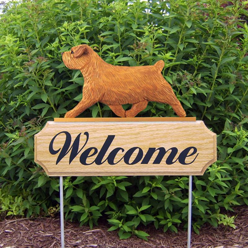 Norfolk Terrier Wood Welcome Outdoor Sign Red