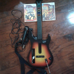 Guitar hero guitar/mic/games