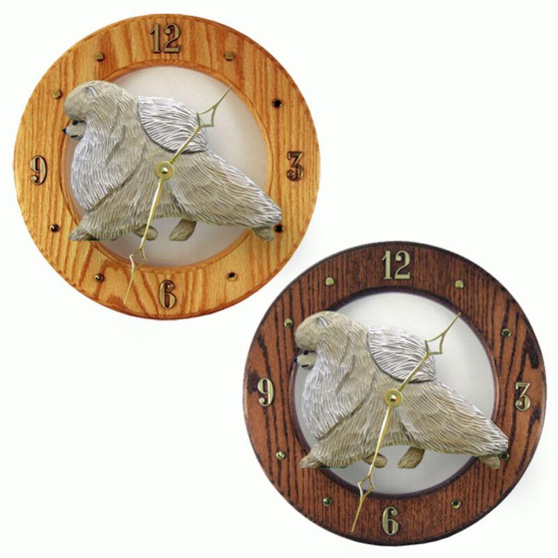 Pomeranian Wood Clock Cream