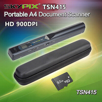 900DPI Handheld Portable Handyscan Document Book Photo A4 Scanner+Hard Case+8GB