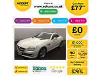 WHITE MERCEDES-BENZ SLK 250 CDI 2.1 AMG SPORT 200 CONVERTIBLE FROM £77 PER WEEK
