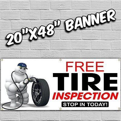 Tire Banner Sign Sale Wheel Alignment Brakes Ac Oil Repair Shocks Auto 20x48