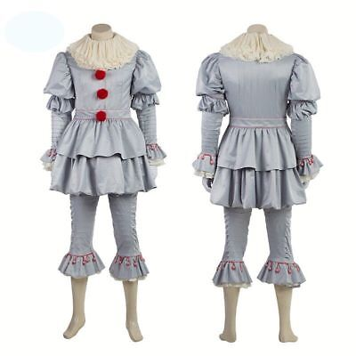 Stephen King It 2018 Pennywise Cosplay Costume The Clown Halloween Outfit Suit - It Clown Costumes