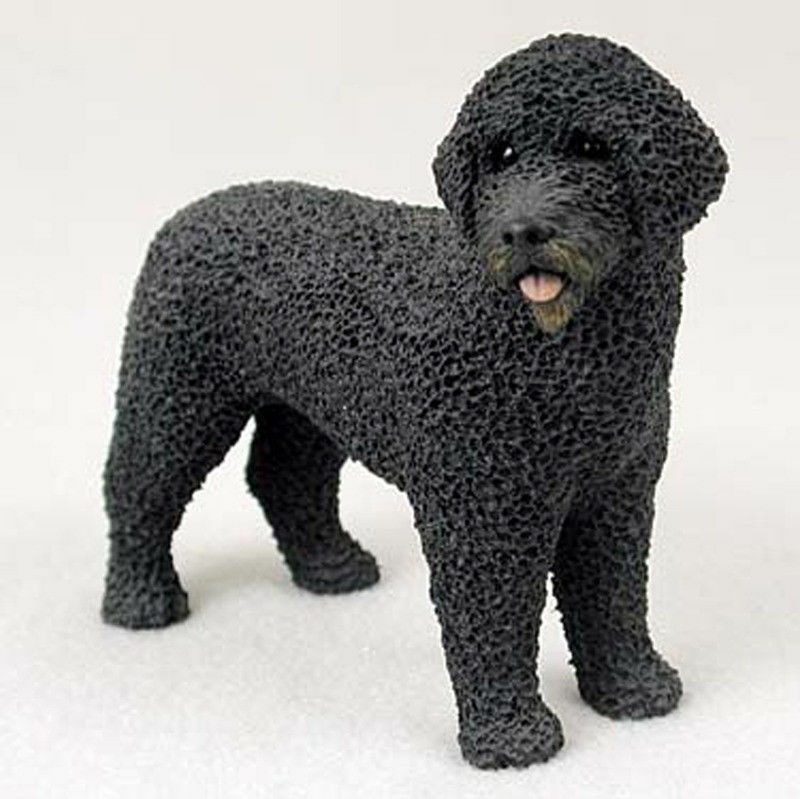 Portuguese Water Dog Figurine Hand Painted Statue