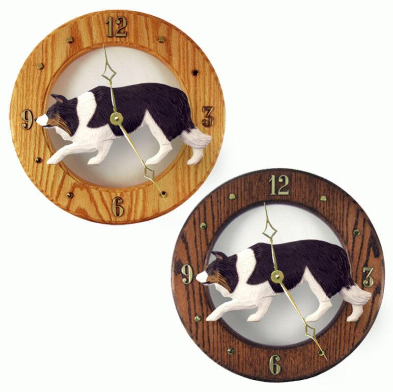 Border Collie Wood Clock Blk Tri