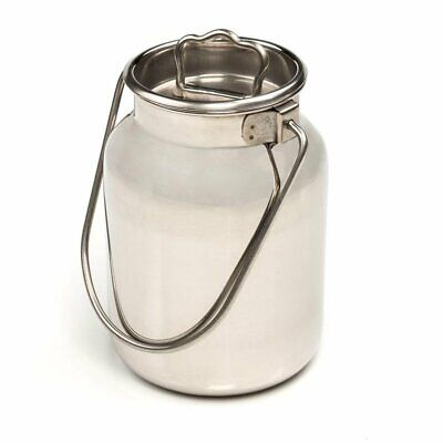 Small Shining Stainless Steel Milk Can Seamless Solid Bail 10 High 1.3 Gallon
