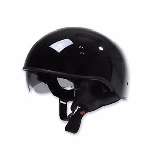 NEW Torc T55 Gloss Black Half Helm w/ visor