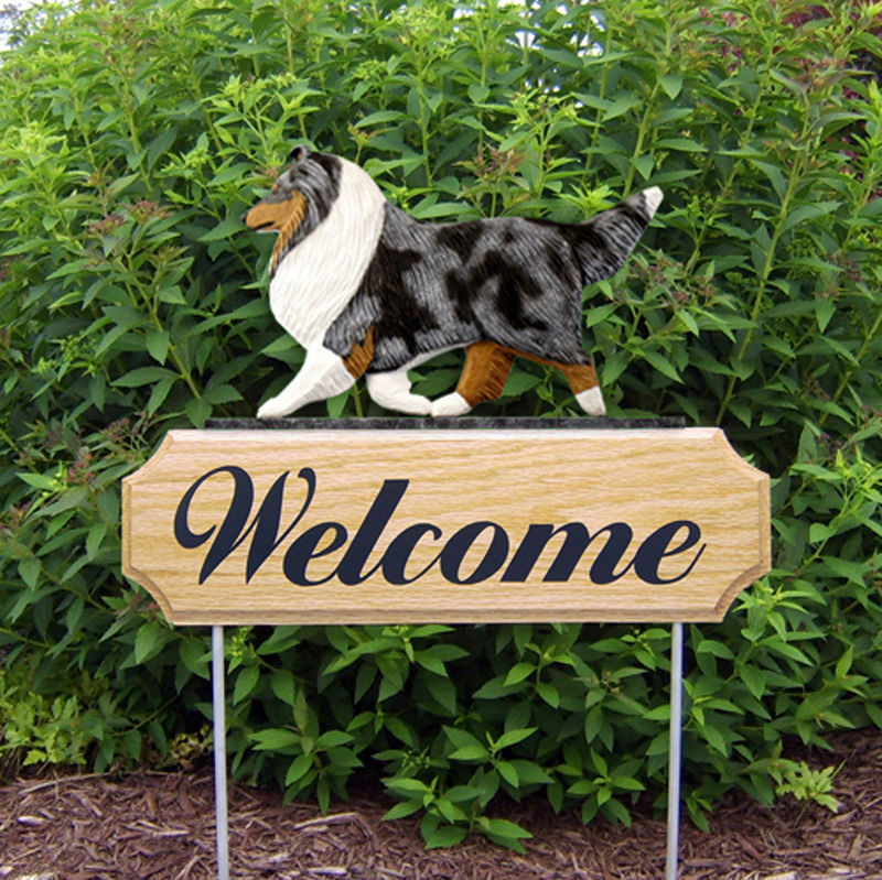 Sheltie Wood Welcome Outdoor Sign Blue Merle