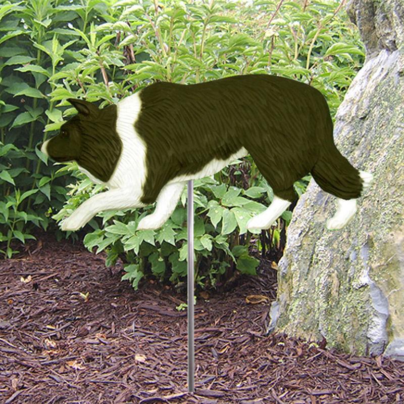 Border Collie Outdoor Garden Dog Sign Hand Painted Figure Black