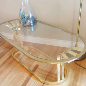 Brass glass top table