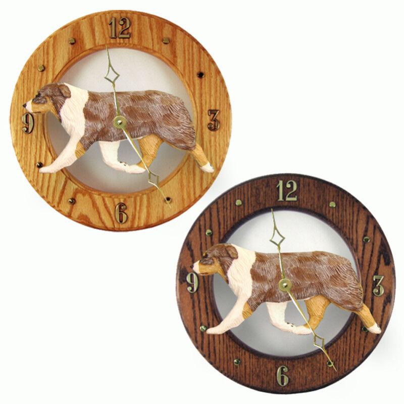 Australian Shepherd Wood Clock Red