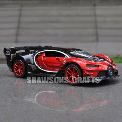 1 32 Diecast Model Car Toys Pull Back Bugatti Chiron Vision Gt Sound   Light